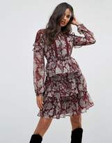 boohoo Lace Insert Ruffle Trim Dress