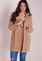 Missguided Plus Size Biker Coat Camel