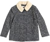 Nice Things Woven Wool Coat W/ Faux Shearling Collar