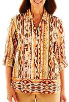 Alfred Dunner Birds Of Paradise Ikat Print Blouse