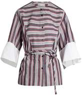 Palmer Harding PALMER//HARDING Flounce-cuff cotton-poplin shirt