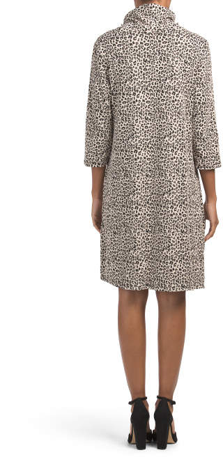 Made In Italy Cowl Neck Leopard Print Knit Dress