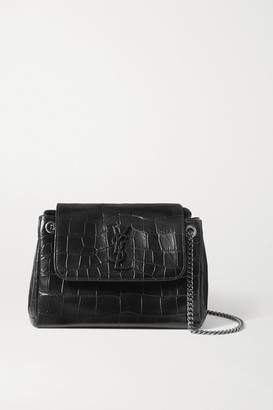 Saint Laurent Nolita Small Croc-effect Leather Shoulder Bag - Black