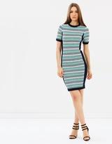 Karen Millen Striped Fitted Knit Dress