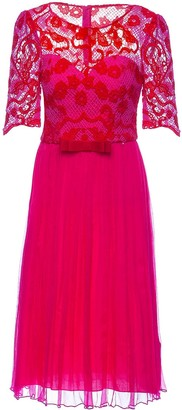 Nissa Lace Sleeve Dress With Pleated Skirt