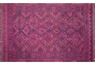 "Liliana World Menagerie One-of-a-Kind Nolhan Overdyed Handwoven 5'4"" x 8'3"" Wool Pink Area Rug World Menagerie"