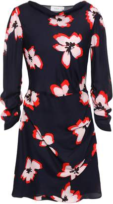 A.L.C. Draped Floral-print Silk-georgette Mini Dress