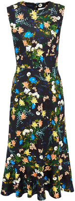 Erdem Grazia Fluted Floral-print Ponte Midi Dress