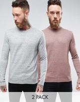 Asos 2 Pack Cotton Sweater In Gray/Pink Slub SAVE