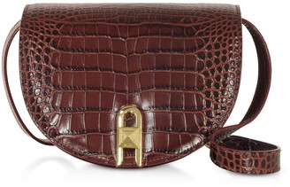 Croco Salar Frida Embossed Leather Crossbody Bag