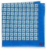 Isaia Medallion Printed Silk Pocket Square