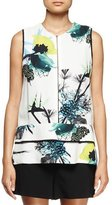 Proenza Schouler Sleeveless Ikebana-Print Blouse, White/Blue/Green