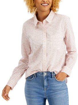 Style&Co. Style & Co Petite Stripes & Hearts Printed Button-Front Shirt, Created for Macy's
