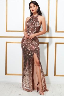 Goddiva Sequin Embroidered Halterneck Evening Maxi Dress - Champagne