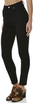 Dr. Denim Cotton Spandex Black Zip Button Closure Womens Skinny Jeans