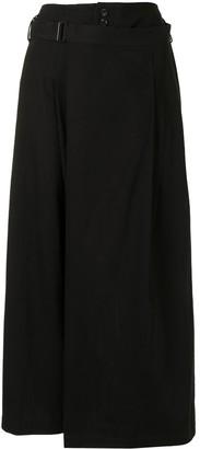 Yohji Yamamoto Skirt-Overlaid Cropped Trousers