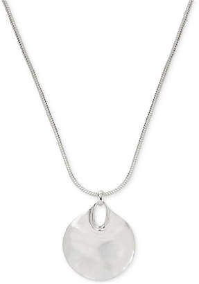 Robert Lee Morris Soho Silver-Tone Hammered Disc Pendant Necklace