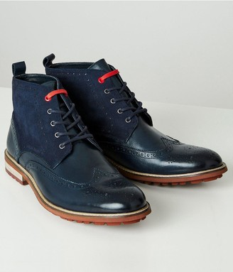 Joe Browns Note Leather Brogue Boots - Blue