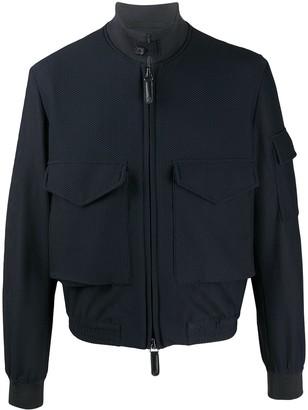 Giorgio Armani High-Collar Logo Bomber Jacket