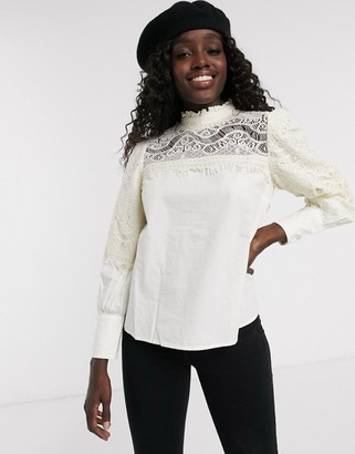 ASOS DESIGN long sleeve high neck top with lace insert