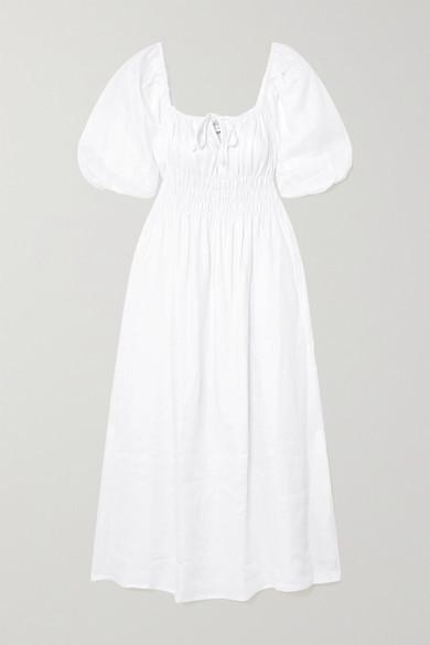 Faithfull The Brand Net Sustain Maurella Shirred Linen Midi Dress