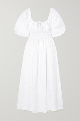 Faithfull The Brand + Net Sustain Maurella Shirred Linen Midi Dress - White