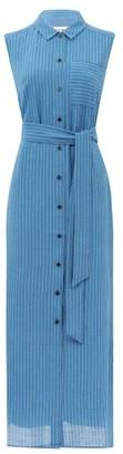 Cefinn Ursula Pinstriped Voile Shirt Dress - Blue White