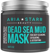 Alöe Aria Starr Beauty Dead Sea Mud Mask For Face, Acne, Oily Skin & Blackheads - Best Facial Pore Minimizer, Reducer & Pores Cleanser Treatment - 100% Natural For Younger Looking Skin 8.8oz