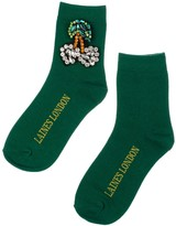 Laines London Green Bamboo Socks With Crystal Cherries Brooch