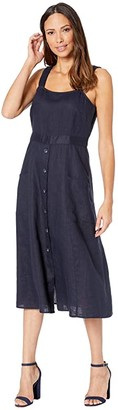 Vince Camuto Sleeveless A-Line Two-Pocket Linen Dress (Dark Navy) Women's Clothing