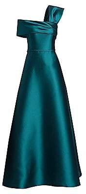 Teri Jon by Rickie Freeman Women's One-Shoulder Silk Mikado A-Line Gown