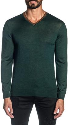 Jared Lang Men's Knit V-Neck Pullover Sweater