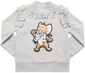 MonnaLisa Zip-up Cotton Sweatshirt W/ Jerry Patch