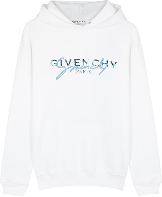 Givenchy White logo hooded cotton sweatshirt