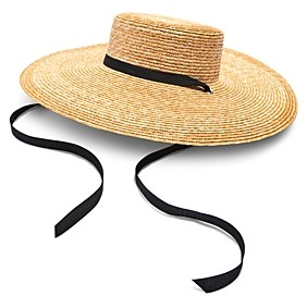Aqua Wide Straw Boater Hat - 100% Exclusive