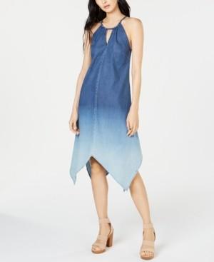 INC International Concepts Inc Handkerchief-Hem Ombre Denim Dress, Created for Macy's