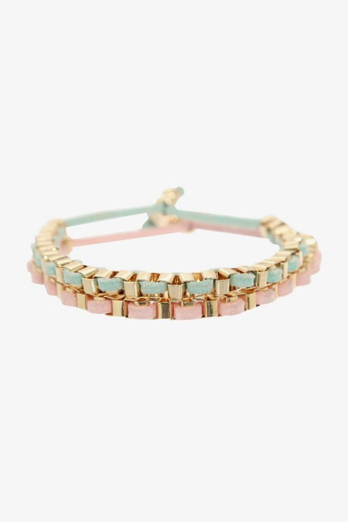 Retro Chic Gold With Mint & Pale Pink Cord Bracelet Pack