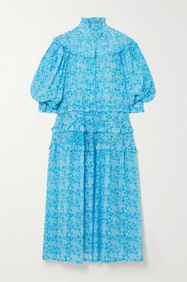 Yvonne S Queen Victoria Ruffled Floral-print Cotton-voile Midi Dress - Blue