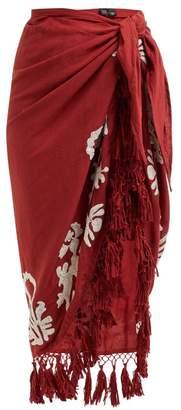 Mes Demoiselles Bangalore Tasselled Cotton Skirt - Womens - Red