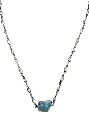 ADORNIA Geometric Cut Labradorite Centerpiece Crystal Pear Chain