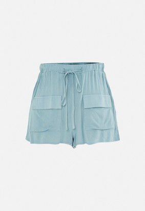 Missguided Blue Co Ord Linen Look Shorts