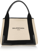 Balenciaga Cabas Leather-trimmed Canvas Tote - Beige