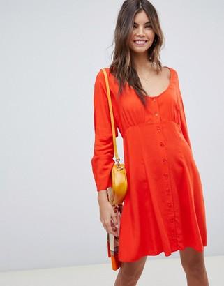 Asos Design DESIGN scoop neck button through mini tea dress-Red