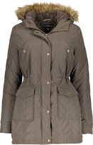 KC Collections Olive Faux Fur-Trim Quilted Anorak - Plus Too