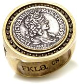 "FKLA by French Kande ""Fils de France"" Medallion Silvertone and Bronzetone Ring"