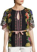 Etro Floral Butterfly Convertible Silk Blouse