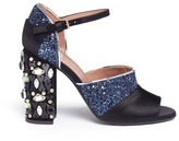 Marni Jewelled heel satin coarse glitter sandals