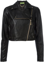Versace asymmetric zip biker jacket - women - Cotton/Polyester/Viscose/Metallic Fibre - 40