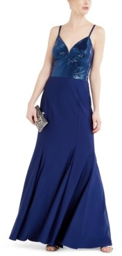Night Way Nightway Sequin-Dot Sateen Fitted Gown