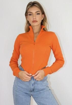 Missguided Orange Ribbed Seam Detail Corset Top